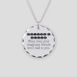 Writers Block Necklace Circle Charm