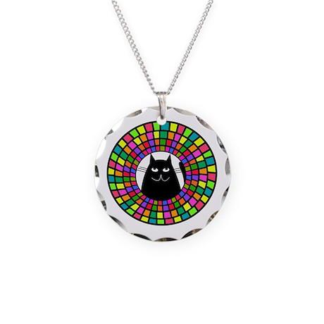 mosaic cat jewelry Necklace Circle Charm