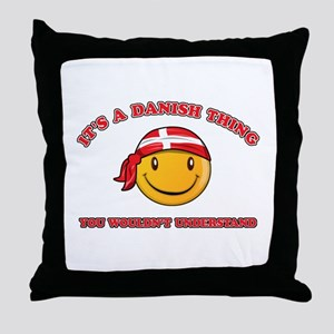 Danish Smiley Designs Throw Pillow