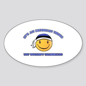 Estonian Smiley Designs Sticker (Oval)