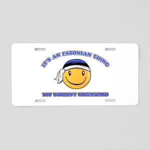 Estonian Smiley Designs Aluminum License Plate