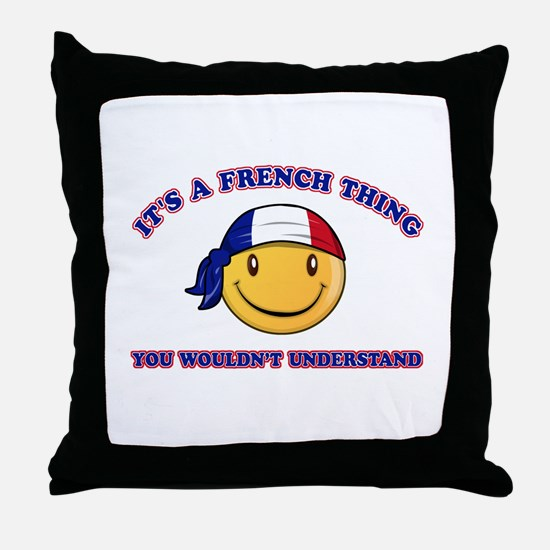 French Smiley Designs Throw Pillow
