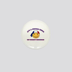 French Smiley Designs Mini Button