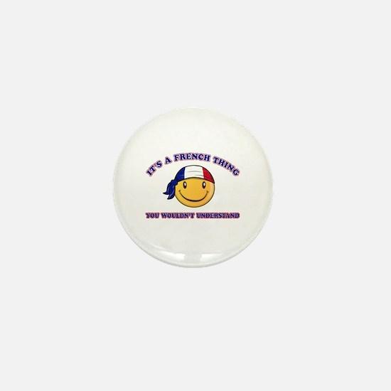 French Smiley Designs Mini Button