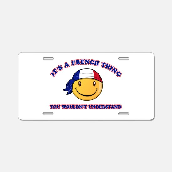 French Smiley Designs Aluminum License Plate