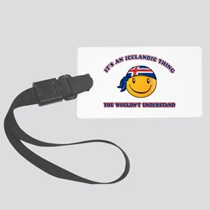 Icelandic Smiley Designs Large Luggage Tag