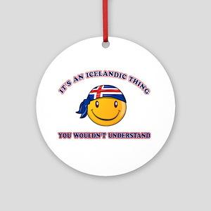 Icelandic Smiley Designs Ornament (Round)