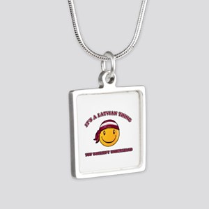 Latvian Smiley Designs Silver Square Necklace