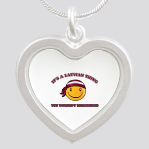 Latvian Smiley Designs Silver Heart Necklace