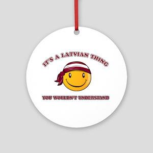 Latvian Smiley Designs Ornament (Round)