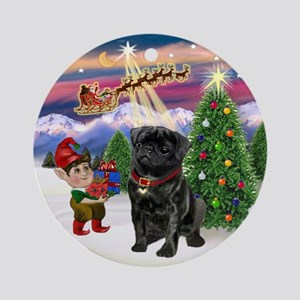 Santa's Take Off & Black Pug Ornament (Round)