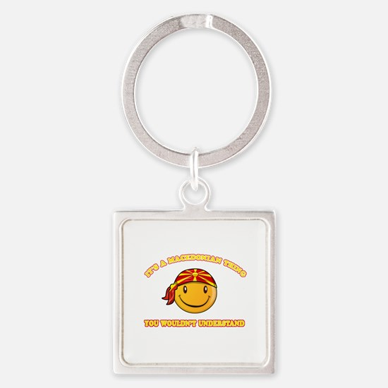 Macedonian Smiley Designs Square Keychain