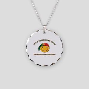 Portuguese Smiley Designs Necklace Circle Charm