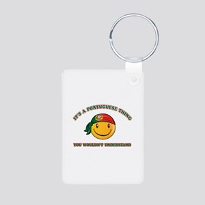 Portuguese Smiley Designs Aluminum Photo Keychain