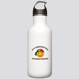 Portuguese Smiley Designs Stainless Water Bottle 1