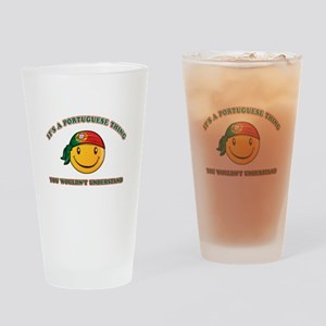 Portuguese Smiley Designs Drinking Glass