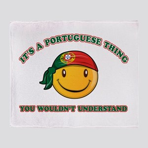 Portuguese Smiley Designs Throw Blanket