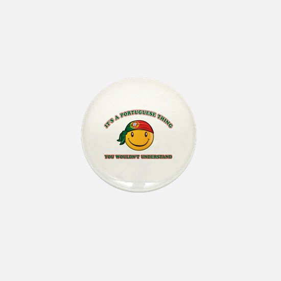 Portuguese Smiley Designs Mini Button