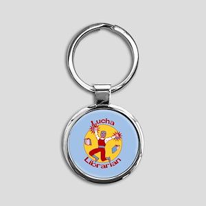 Lucha Librarian Round Keychain