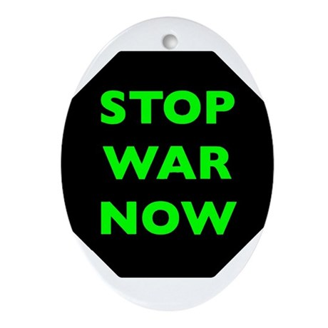 Stop War Now e9 Ornament (Oval)