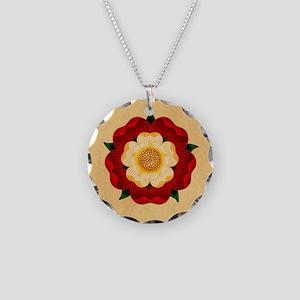 Tudor Rose Necklace Circle Charm