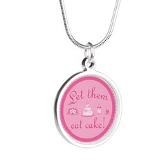 Sweet Pink Let Them Eat Cake Silver Round Necklace