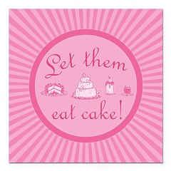 Sweet Pink Let Them Eat Cake Square Car Magnet 3