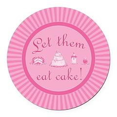Sweet Pink Let Them Eat Cake Round Car Magnet