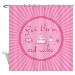 Sweet Pink Let Them Eat Cake Shower Curtain
