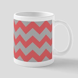 Coral And Gray Chevron Stripes Mug
