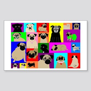 Lots o Pugs Rectangle Sticker