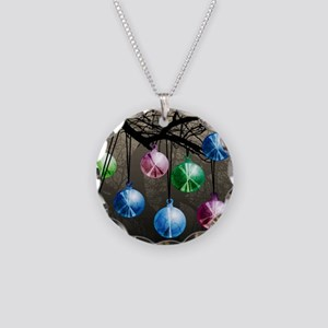 Witchballs On Branch Necklace Circle Charm