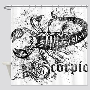 Worn Zodiac Scorpio Shower Curtain