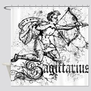 Worn Zodiac Sagittarius Shower Curtain