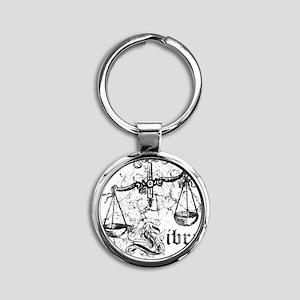Worn Zodiac Libra Round Keychain