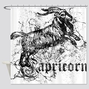 Worn Zodiac Capricorn Shower Curtain