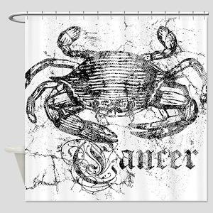 Worn Zodiac Cancer Shower Curtain