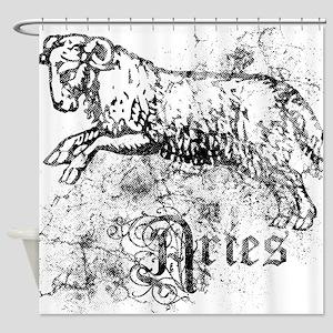 Worn Zodiac Aries Shower Curtain