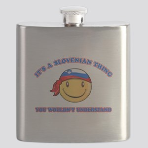 Slovenian Smiley Designs Flask