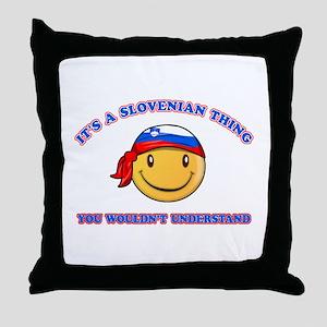 Slovenian Smiley Designs Throw Pillow