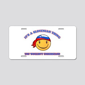 Slovenian Smiley Designs Aluminum License Plate