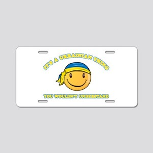 Ukrainian Smiley Designs Aluminum License Plate