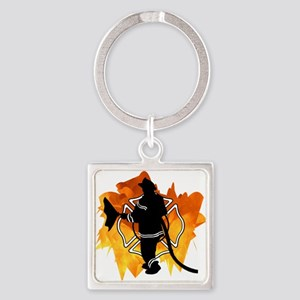 Firefighter Flames Square Keychain