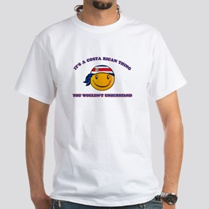 Costa Rican Smiley Designs White T-Shirt