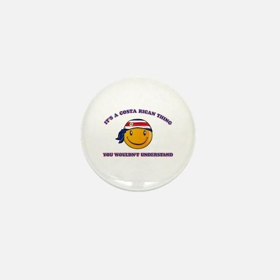 Costa Rican Smiley Designs Mini Button