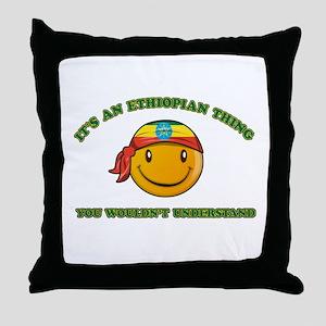 Ethiopian Smiley Designs Throw Pillow