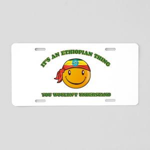 Ethiopian Smiley Designs Aluminum License Plate