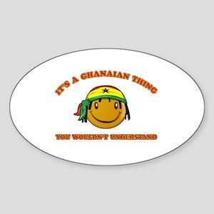 Ghanaian Smiley Designs Sticker (Oval)