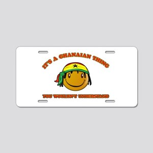 Ghanaian Smiley Designs Aluminum License Plate