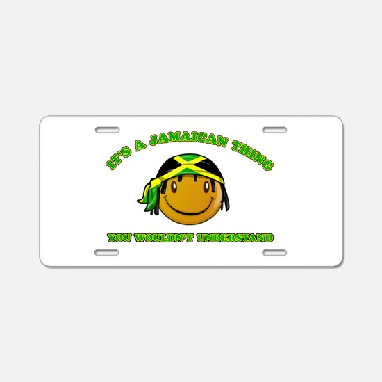 Jamaican Smiley Designs Aluminum License Plate